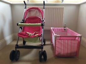 Girls Pink Mamas & Papas Play Pushchair & Pink Play Cot