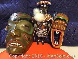 Aboriginal Wood Masks And Doll