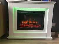Cream remote control electric colour changing fire and surround