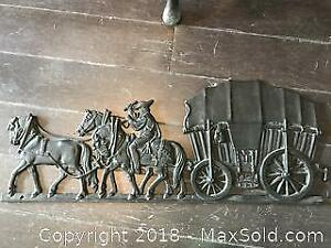 Antique Black Iron Carriage and Horses Wall Decoration Pickup B