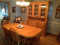 Solid Oak Dining Room Table, Hutch and Buffet