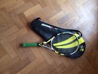 Used Babolat tennis racquet, small/medium size, signs of wear but works fine, with bag