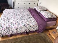 KING SIZE PINE BED & MATTRESS FOR SALE WITH 2 MATCHING BED SIDE TABLES