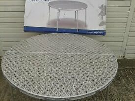 Folding round table, NEW, BOXED, Outwell Fredericton, lightweight aluminium frame, adjustable legs
