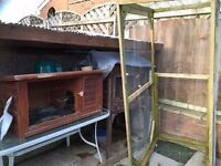 2 guinea pig/rabbit hutches and 1 large run plus saw dust and hay -£15 to good home-pick up only