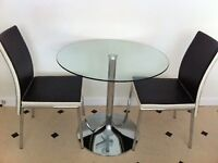 Kitchen glass bistro table and chairs