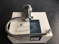 Chrome /glass Wall mounted Soap Dish and matching Toilet Roll Holder - NEW IN BOX