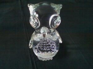 Heavy Blown Glass Owl