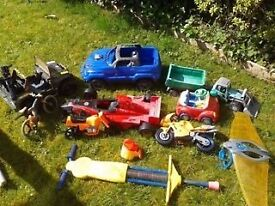 Mixture of Childrens Kids Outdoor Play toys, Tractor, Action Man, Cars, Pogo Stick, Car Boot Lot