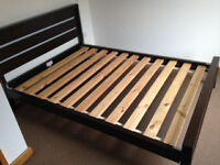 FREE double bed frame - dark wood finish