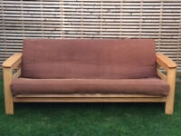 Solid wood 3 seater sofa bed with side storage and mattress, 6x4ft open, excellent condition frame