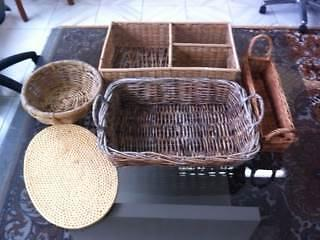 3 Cane Wicker Baskets, 1 3-Shelf Cane Wicker Spice Rack & 1 Cane Matraville Eastern Suburbs Preview