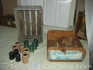 Old Wooden Crates and Insulator Lot A