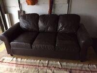 Brown Faux Leather Ikea 2 seater sofa