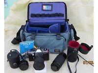 Praktica camera 3 lenses and padded carry bag