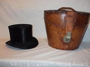 Antique top-hat with leather case made for the Royal family