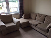 Next Beige Chaise Lounge Sofa and Chair - Excellent Condition - £160