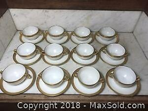 Antique CH Field Haviland Limoges Gold Incrustation Double Dorure Double Handled Cups and Saucers