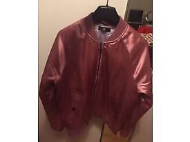 MISSGUIDED WOMEN'S PINK SATIN BOMBER JACKET, SIZE 10