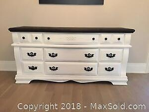 Refinished White And Black 11 Drawer Dresser