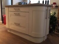 Kitchen units and island with drawers, possibility of more than in photos, wine fridge NOT included