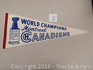Rare 1960 Montreal Canadiens Stanley Cup Champion Full Size Pennant. Excellent Condition. - C