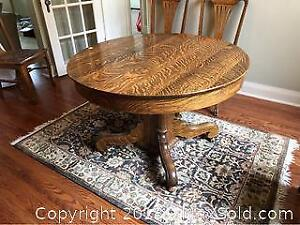 Antique Tiger Oak Dining Table With 5 Extensions C