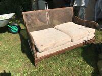 Mahogany and cane antique sofa