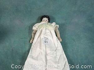 Antique china head, cloth body Doll