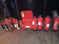 11 Fire Extinguishers For Sale, plus stand.
