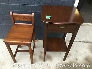 Vintage Hall Table and Chair