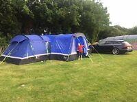 hi gear kalahari 10 tent with footprint, carpet and porch extension.