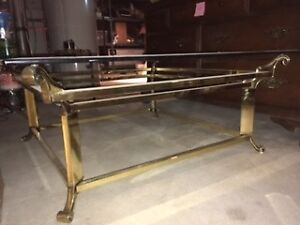 Gold (Brass) Coffee Table w/ Glass Top - Reduced!!