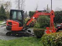 Mini excavator and driver for hire