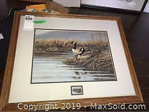 Canada Goose Framed Print with Stamp Medallion A