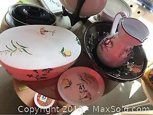 Ceramic Box And Dishes- A