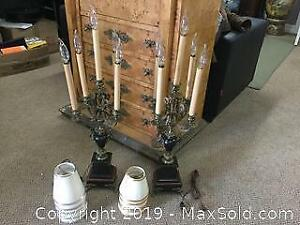 Antique Pair Of Onyx Brass Mounted 4 Branch Candelabra