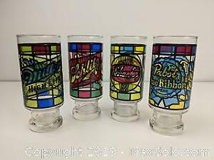 Stained Glass Styled Vintage Beer Glasses