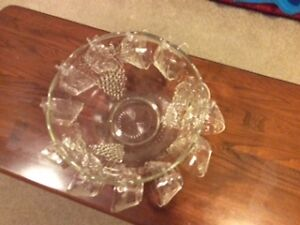 Heavy glass punchbowl set-JUST IN TIME FOR NEW YEAR'S EVE