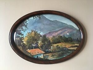 20th Century Convex Glass Frame and Print