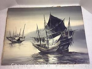 Vintage Oil On Board Chinese Junk Boats Signed