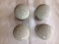 4 grey crackle glaze Georgian style door knobs