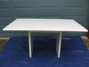 Modern Styled Dining Table and 8 Director Style Leather charis