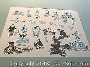 Inuit Children Picture Signed