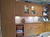 Solid oak shaker kitchen included granite worktop, 18 cabinets, fridge, diswaher, sink