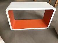 4 Floating box shelves - white with orange interior