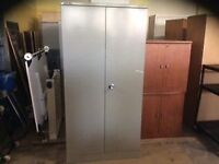 Grey metal 2 door storage cupboard