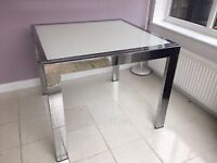 White glass & chrome extendable dining table