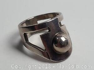 Sterling silver ring with a very strong design. Signed by artist and marked 925