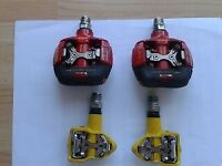 Pedals, 2 pairs, LOOK S2 Racing, REd, made in France. Yellow pair, V.P., SPD